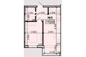 ЖК Акварель 8: планировка 1-комнатной квартиры 39.89 м²