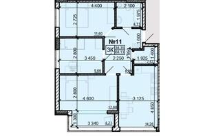 ЖК Акварель 8: планировка 3-комнатной квартиры 68.13 м²