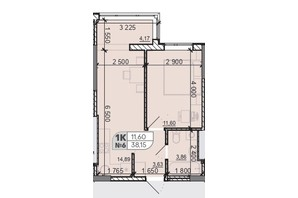 ЖК Акварель 8: планировка 1-комнатной квартиры 38.15 м²