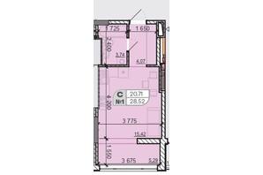 ЖК Акварель 8: планировка 1-комнатной квартиры 28.52 м²
