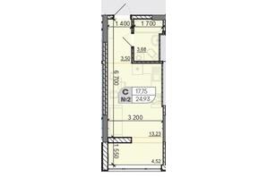 ЖК Акварель 8: планировка 1-комнатной квартиры 24.93 м²