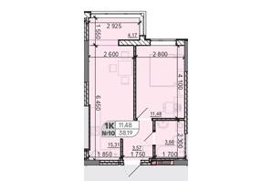 ЖК Акварель 8: планировка 1-комнатной квартиры 38.19 м²