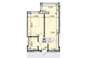 ЖК Акварель 8: планировка 1-комнатной квартиры 38.07 м²