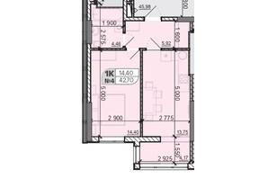 ЖК Акварель 8: планировка 1-комнатной квартиры 42.7 м²