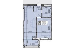 ЖК Акварель 8: планировка 1-комнатной квартиры 39.29 м²