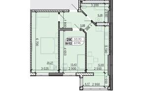ЖК Акварель 8: планировка 3-комнатной квартиры 61.96 м²