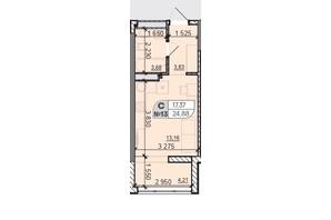ЖК Акварель 8: планировка 1-комнатной квартиры 24.88 м²