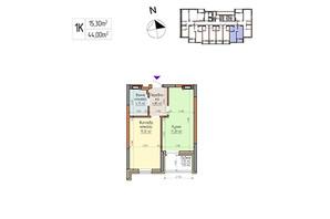 ЖК Акварелі-2: планування 1-кімнатної квартири 44 м²
