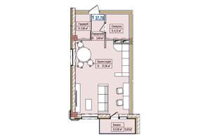 ЖК Александровск: планировка 1-комнатной квартиры 37.76 м²