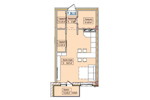 ЖК Александровск: планировка 1-комнатной квартиры 38.13 м²