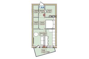 ЖК Александровск: планировка 1-комнатной квартиры 38.56 м²