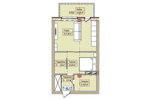 ЖК Александровск: планировка 1-комнатной квартиры 40.17 м²
