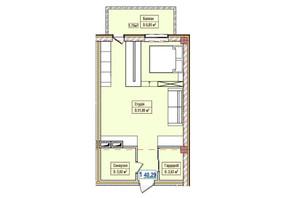 ЖК Александровск: планировка 1-комнатной квартиры 40.29 м²