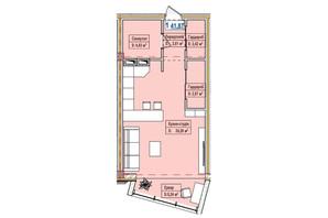 ЖК Александровск: планировка 1-комнатной квартиры 41.87 м²
