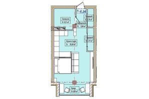 ЖК Александровск: планировка 1-комнатной квартиры 41.94 м²