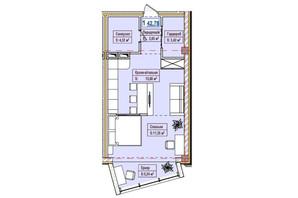 ЖК Александровск: планировка 1-комнатной квартиры 42.78 м²