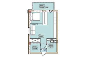 ЖК Александровск: планировка 1-комнатной квартиры 44.51 м²