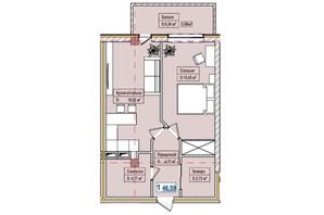 ЖК Александровск: планировка 1-комнатной квартиры 46.59 м²