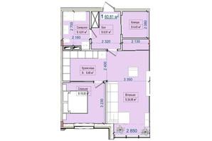 ЖК Александровск: планировка 1-комнатной квартиры 60.81 м²