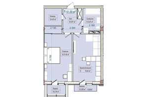 ЖК Александровск: планировка 1-комнатной квартиры 61.59 м²