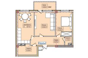 ЖК Александровск: планировка 2-комнатной квартиры 66.49 м²
