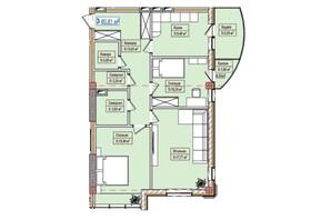 ЖК Александровск: планировка 2-комнатной квартиры 80.81 м²