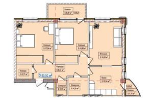 ЖК Александровск: планировка 2-комнатной квартиры 80.92 м²