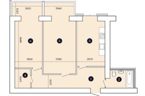 ЖК Александровский 2: планировка 2-комнатной квартиры 77.8 м²