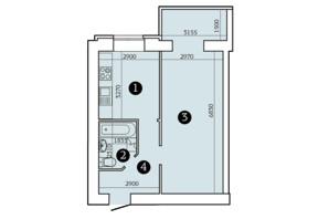 ЖК Александровский 2: планировка 1-комнатной квартиры 45.12 м²