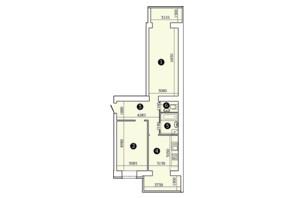 ЖК Александровский 2: планировка 2-комнатной квартиры 75.74 м²