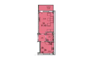 ЖК Алексеевский: планировка 1-комнатной квартиры 41.4 м²