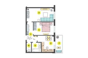 ЖК Алексеевский: планировка 2-комнатной квартиры 54.4 м²