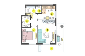 ЖК Алексеевский: планировка 2-комнатной квартиры 52.4 м²