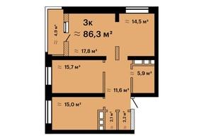 ЖК Альтаїр-3: планування 3-кімнатної квартири 86.3 м²