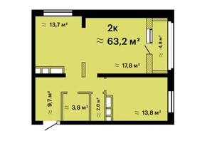 ЖК Альтаїр-3: планування 2-кімнатної квартири 62.3 м²