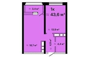 ЖК Альтаїр-3: планування 1-кімнатної квартири 43.6 м²