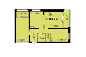 ЖК Альтаїр-3: планування 3-кімнатної квартири 83.7 м²