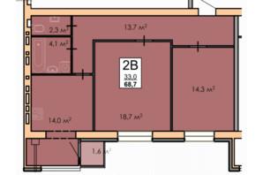 ЖК Andorra: планировка 2-комнатной квартиры 68.7 м²