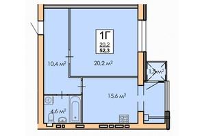 ЖК Andorra: планировка 1-комнатной квартиры 52.3 м²