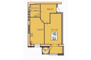 ЖК Andorra: планировка 1-комнатной квартиры 49 м²