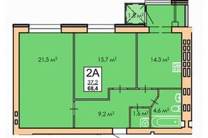 ЖК Andorra: планировка 2-комнатной квартиры 68.4 м²