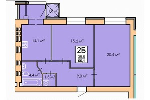 ЖК Andorra: планировка 2-комнатной квартиры 66.1 м²