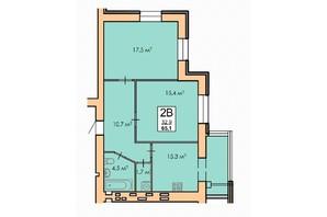 ЖК Andorra: планировка 2-комнатной квартиры 65.1 м²