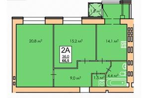 ЖК Andorra: планировка 2-комнатной квартиры 66.5 м²