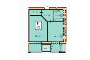 ЖК Andorra: планировка 1-комнатной квартиры 47 м²