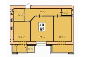 ЖК Andorra: планировка 2-комнатной квартиры 70 м²