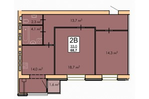 ЖК Andorra: планировка 2-комнатной квартиры 68 м²