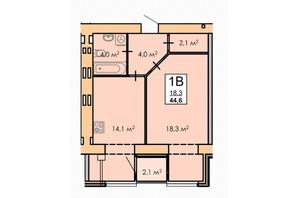 ЖК Andorra: планировка 1-комнатной квартиры 44 м²