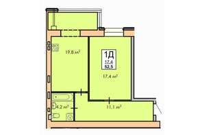 ЖК Andorra: планировка 1-комнатной квартиры 52 м²