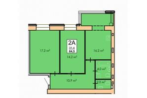 ЖК Andorra: планировка 2-комнатной квартиры 64 м²